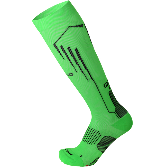 MICO Running OXI-JET Light Weight Compression Long Socks Farbe: neon green Größe: L